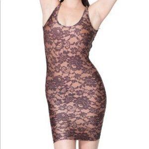 American apparel black lace nylon dress